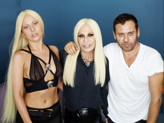 Lady Gaga, Donatella Versace & photographer Mert Alas. http://t.co/fQwtGJwmCj