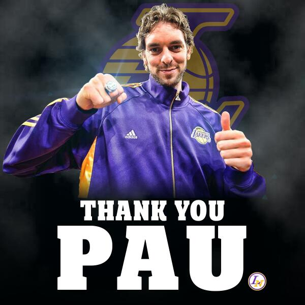 Best of luck to @paugasol w/ the Chicago Bulls! Again, thank you for everything, you will be missed! #LakerNation http://t.co/KzgGa6dwK0