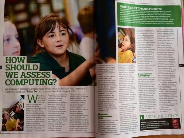 My article on assessing primary computing in this month's Teach Primary:) Text also online at http://t.co/cpTbxzPkqN http://t.co/Woo53a27wT