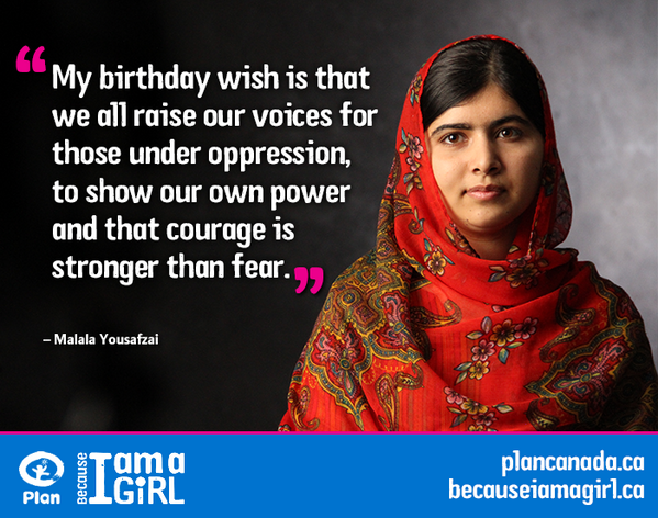 Happy bday #Malala! You inspire us to show the world that girls are #StrongerThan fear & oppression!  @MalalaFund http://t.co/K252aNolFS