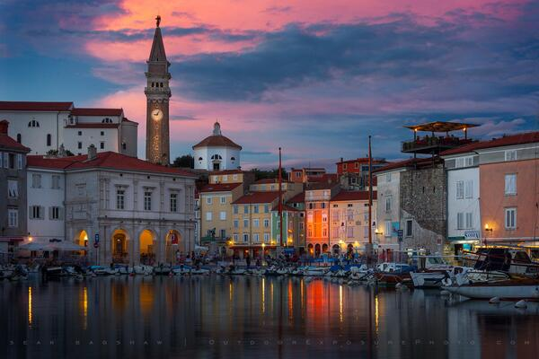 Piran Harbor Sunset. One evening in Piran, Slovenia there was rain and the next night there was a beautiful sunset. http://t.co/0uFxg4yh17