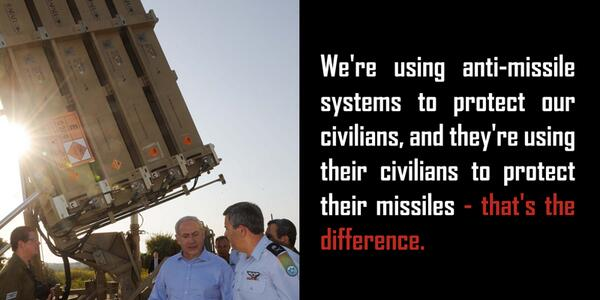 We use anti-missile systems to protect civilians. They use civilians to protect their missiles. That's the difference http://t.co/foV4vQbRn1