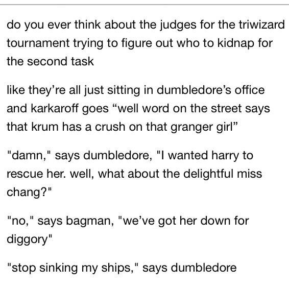 Dumbledore & the Tri-Wizard Judges dilemma on the second task... #PotterheadWeekend http://t.co/3FbJmXbdrS