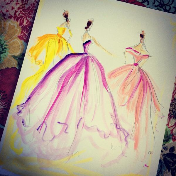 Sketch of the day: abstract organza ball gowns. sketches are ...