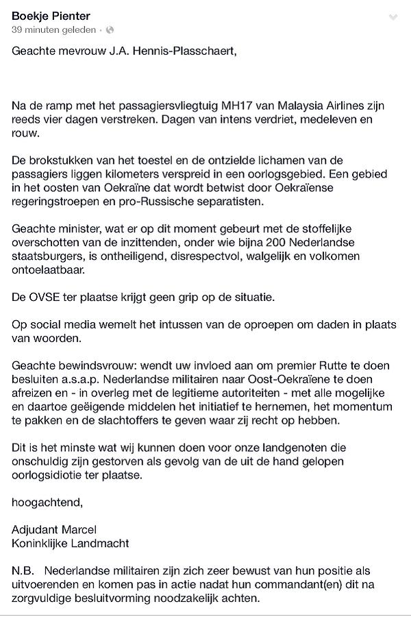 Opmerkelijk: Militair vraagt minister om actie @BoekjePienter: Open brief aan minister @JeanineHennis #mh17 http://t.co/2e9f7B8EUH