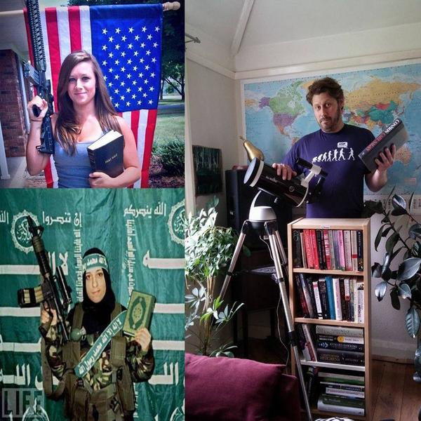 Here is a Christian, a Muslim and an Atheist with their weapons of choice: http://t.co/WrKaddc6Zp