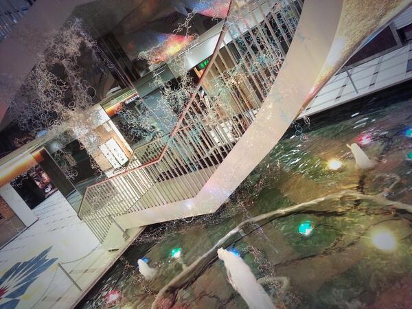 切り絵作家・いしかわゆかの作品が天満橋OMMビル地下2階の噴水に。夏らしいキラキラした作品です。ART Lab OMMでも20日からスタートするSAMURAI JACK初陣の導入として26日まで設置。明日からリンクスでも下村君の個展。 http://t.co/WqsupPBWcr