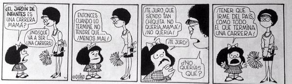 Esta tira sería actual, pero es la primera de Mafalda, de Quino, hace 50 años: http://t.co/BkpLwDmBw4