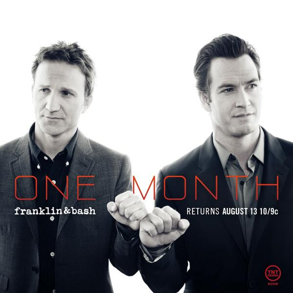 What? Only one month until #FranklinandBash Season 4? #BOOM http://t.co/BX3dFCxeJx