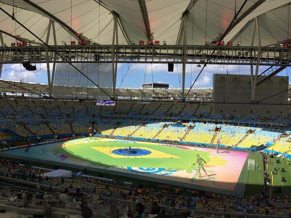 The Maracana is basking in glorious sunshine. Quite a relief because it has rained in Rio all week. #bbcworldcup http://t.co/24VR0m9bH7