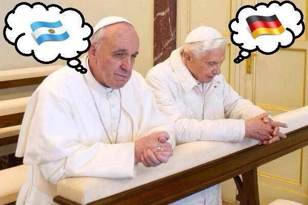 #worldcup2014 New Pope vs Old Pope, It is gonna get Messi http://t.co/3bQueAtE1P