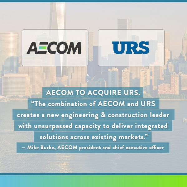 BREAKING NEWS: AECOM to acquire URS Corporation for US$56.31 per share in cash and stock http://t.co/F8mrHgdnLv $ACM http://t.co/dyphworEvd