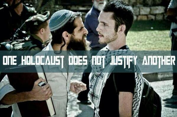 One Holocaust can NEVER justify another @samdamann2 #GazaUnderAttack #GenocideinGaza #BDS http://t.co/5Qh6EI3FhG