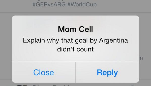 Mom making a sincere effort to learn more about the world's most beautiful sport... #WordCupFinal #GERARG #GER http://t.co/2UMswBCTy2