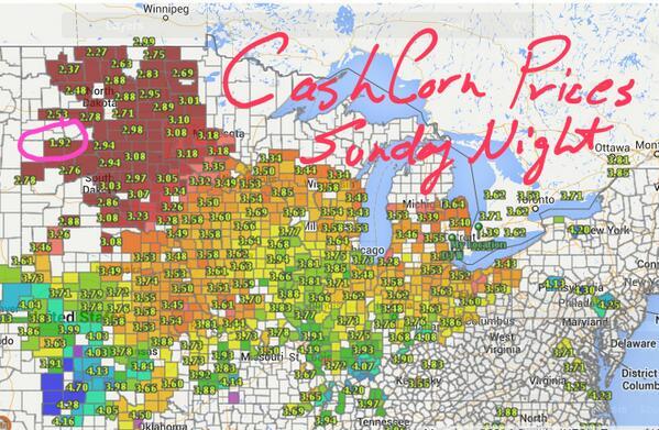 Cash #corn prices Sunday night…   $1.92 bushel http://t.co/74jEYBPZsb