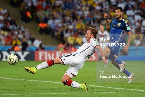 That's it! Mario Goetze scores the winning goal and Germany are World Cup winners! #GER #ARG http://t.co/W4Y7MlLjhm