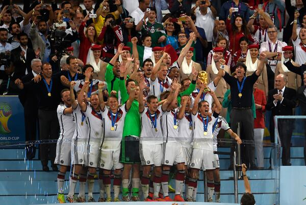 Germany lift the #WorldCupFinal trophy, the 1st European team to do so in S. America. Report: http://t.co/YkktNfzvLS http://t.co/7Y9LvrdtKE