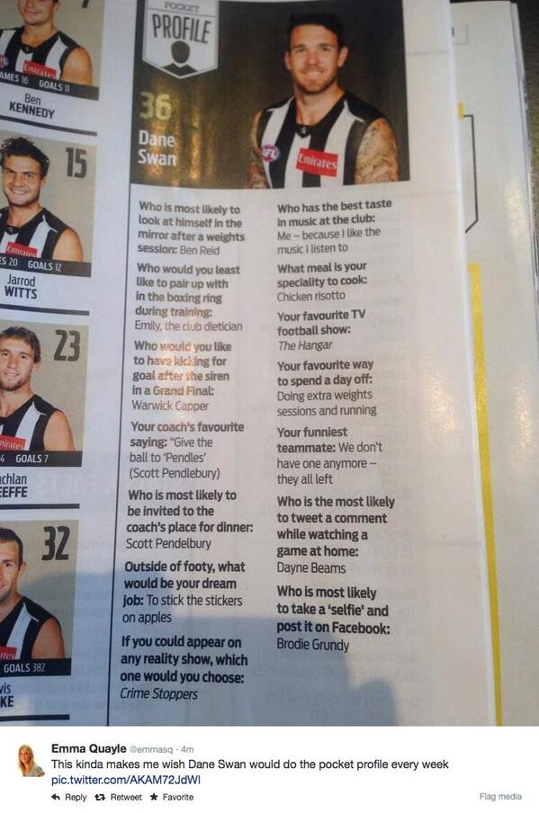 """@sharron61: ""@DHughesy @DThomas_39 Some classic Swanny! @swandane RT @emmasq http://t.co/NPc2QCWr72 #yourboy""""  Some of his best work!"