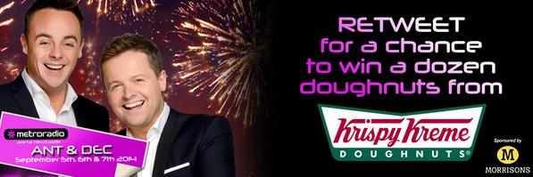 RETWEET for a chance to WIN 12x @krispykremeUK doughnuts - winner drawn at 5pm! #TakeawayOnTour @antanddec http://t.co/yf748qQeY3