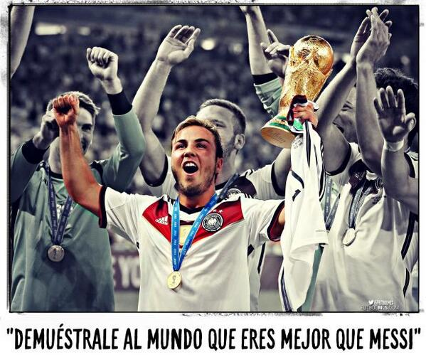 """Löw a Mario Götze: """"Demuéstrale al mundo que eres mejor que Messi"""". Show the world that you are better than Messi  http://t.co/G0Zl2yCKLy"""""""