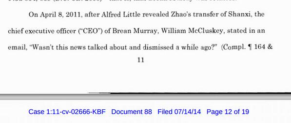 RT @unemon1: Brean Murray comment when Alfred Little Report on $PUDA came out (see picture). He knew MZ had stolen Puda Inc assets http://t.co/ndyA82MnYs