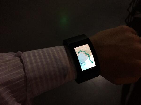 the amazing upcoming mobile watch by @iamwill - powered by ArcGIS runtime mobile maps #wearables #esriUC http://t.co/aNlDZZB29j