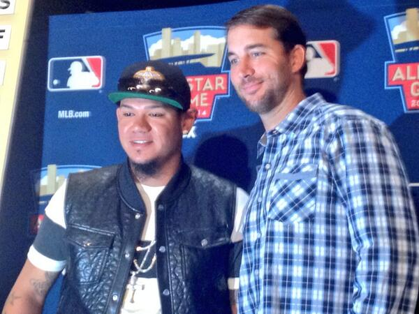 Adam Wainwright with American League starting pitcher Felix Hernandez. http://pic.twitter.com/l58xZoAu59