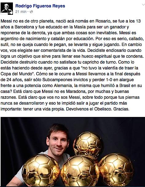 Les dejo una reflexión de @Figueroa_Reyes sobre Messi. Muy bueno, vale la pena leerlo. http://t.co/siAfAflNil