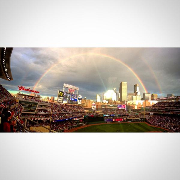 Make it a double: Home Run Derby rainbow. Photo by our @mvnclv #HomeRunDerby #asg2014 #asg #HRDerby http://t.co/uy2SwuXVqD