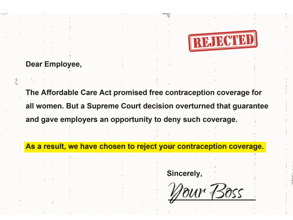 Women shouldn't have to ask permission from their boss for basic, guaranteed health care. #NotMyBossBusiness http://t.co/JenxRBVxM2
