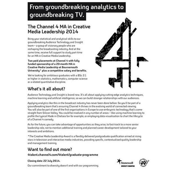 C4's GRADUATE PROGRAMME is open 4 applications, CLOSES TODAY! http://t.co/I4TUofBwzo http://t.co/IpPy30FNo1