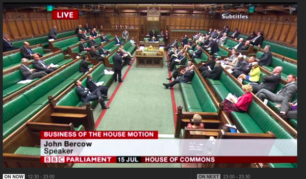 Packed* House of Commons for discussion of the DRIP bill. (*Not packed.) http://t.co/s2LGsuku4F