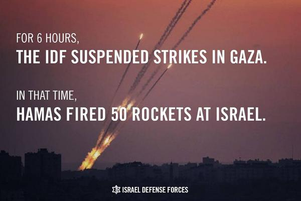 Hamas fired 50 rockets while #Israel adhered to ceasefire MT @IDFSpokesperson: Why we resumed operation against Gaza: http://t.co/ZHgngcoPH4