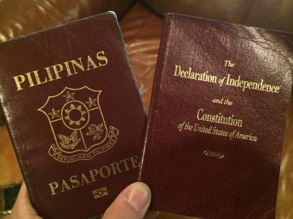 The only IDs I have for security: Philippine passport and my pocketbook US Constitution @DefineAmerican & @MAC_UTPA http://t.co/IFH0Vb4oX7