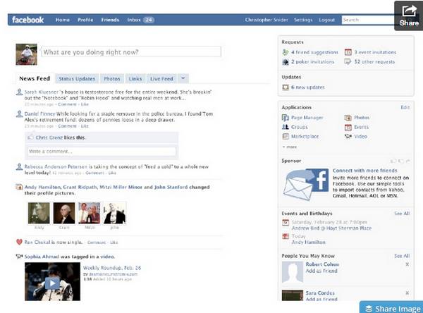 Clicking through an old presentation. Here's what Facebook looked like 5 years ago... http://t.co/S7Hsl6TRW8