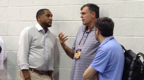 Coach McHale taking in the game with @steve21smith. #NBASummer