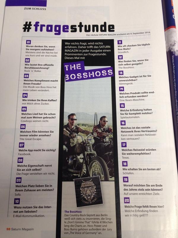 Dieses Mal in der #fragestunde im neuen Saturnmagazin: #TheBossHoss. Ist witzig geworden. http://t.co/QsmRPaYr5p