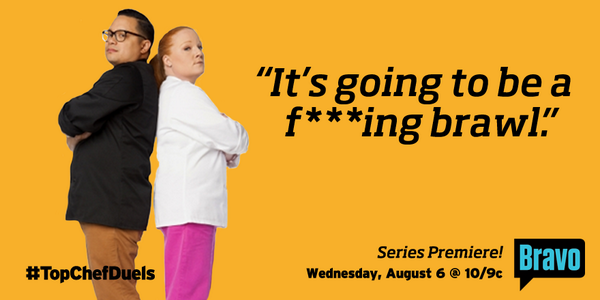 Prepare for battle. Your favorite chefs face off in #TopChefDuels premiering Aug. 6 @ 10/9c. http://t.co/kF2wzNhEkl