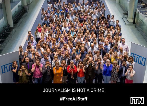 200 days behind bars. ITN staff stand behind the Al Jazeera journalists imprisoned in #Egypt. #FreeAJStaff http://t.co/MmWgqTkdXV