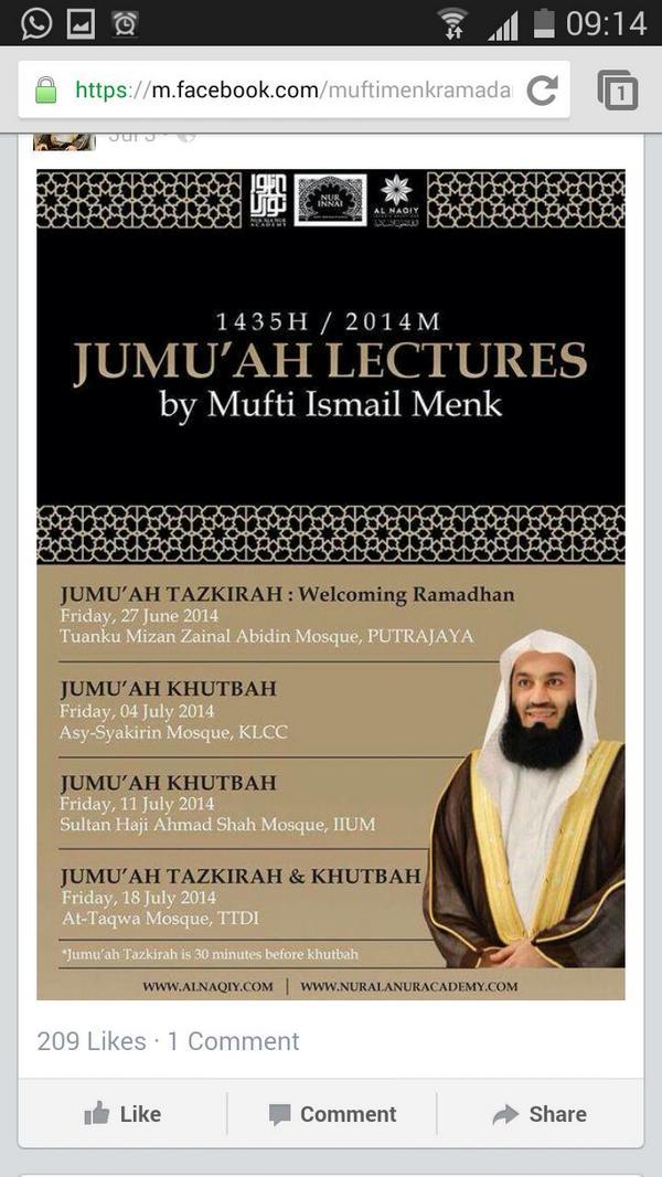 Khutbah Jumaat dan Tazkirah oleh @muftimenk di Masjid At-Taqwa esok. http://t.co/ChJujB30Bo