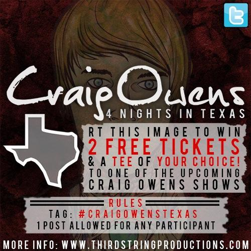 WIN TWO TICKETS AND A SHIRT FROM @craigowens! RT THIS TO ENTER! http://t.co/xP7Y2FX35u