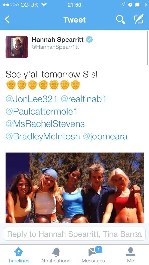 S Club 7 reunion announcement tomorrow? Looks like it! #sclub7 #sclubreunion http://t.co/fmCFElpFQ5