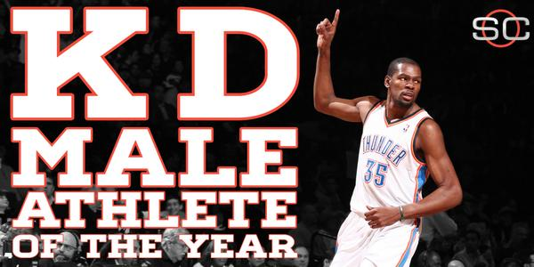 """@SportsCenter: Congratulations to Kevin Durant on winning the ESPY for Male Athlete of the Year. http://t.co/ZxgXO2Ud9T"" #OKC #WeAreThunder"