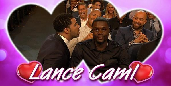 Sooo @Drake just blew in @StephensonLance's ear ...   #LANCECAM | #ESPYS http://t.co/Jc5yvfvUs5