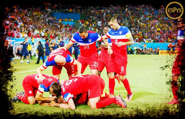 """""""It's John Brooks! It's John Brooks for the USA!""""     Congrats to @ussoccer for winning #ESPYS Best Moment! #USMNT http://t.co/9C2OjtWOw1"""