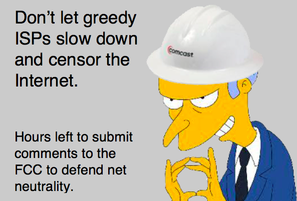 Cable's trying to end #netneutrality & break the Internet for profit. Hours left to stop them http://t.co/w6PGSzEOfL http://t.co/0v5qvvyQhX