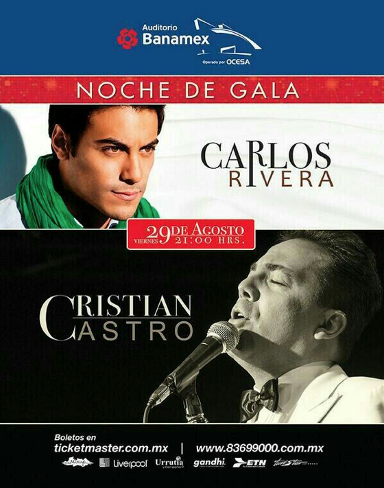 ¡El próximo mes de agosto @_CarlosRivera y @CristianCastro estarán en @AuditBanamex! ¿irás? | http://t.co/44JypC23vx http://t.co/X4ZtwkuLQN