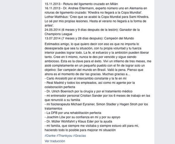 Mensaje de Khedira en Facebook http://t.co/DD9eo1tUBP