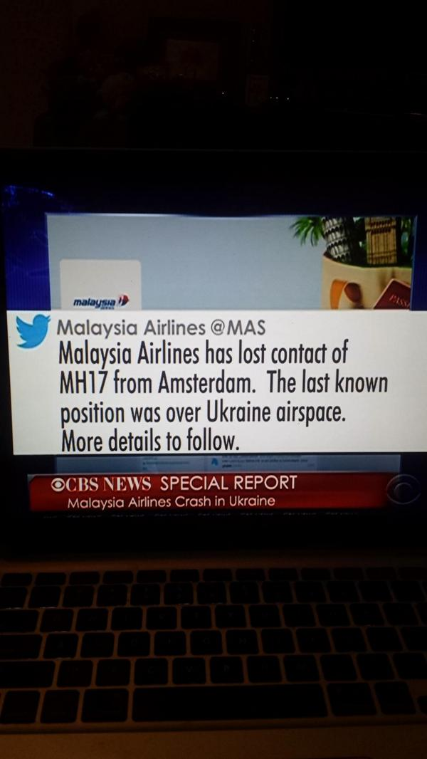 Sad news this. Feeling sorry for @MAS, but immediate thoughts are with those onboard #MH17. http://t.co/UChExFRxNV