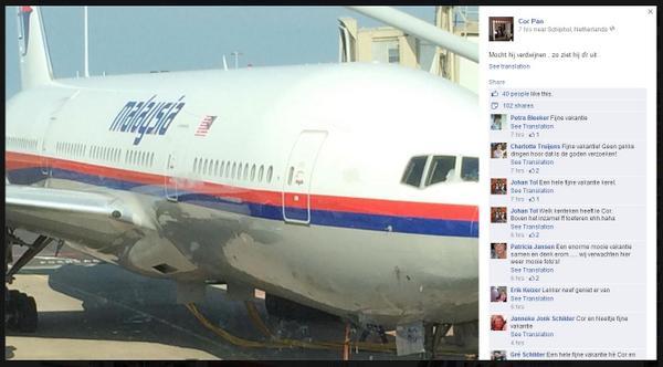 有位 #MH17 乘客起飞前在FACEBOOK上PO文:以防万一飞机消失掉,飞机长这样 http://t.co/Ch1zmNxwhF